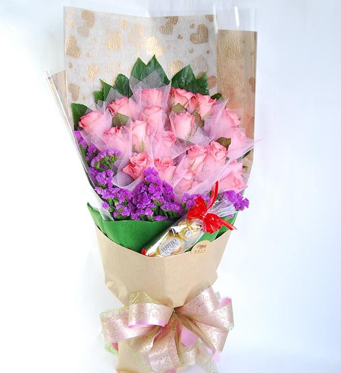 【巧繪網—傳情花束】FR520018最愛爸爸嚴選鮮花束‧超值贈金莎