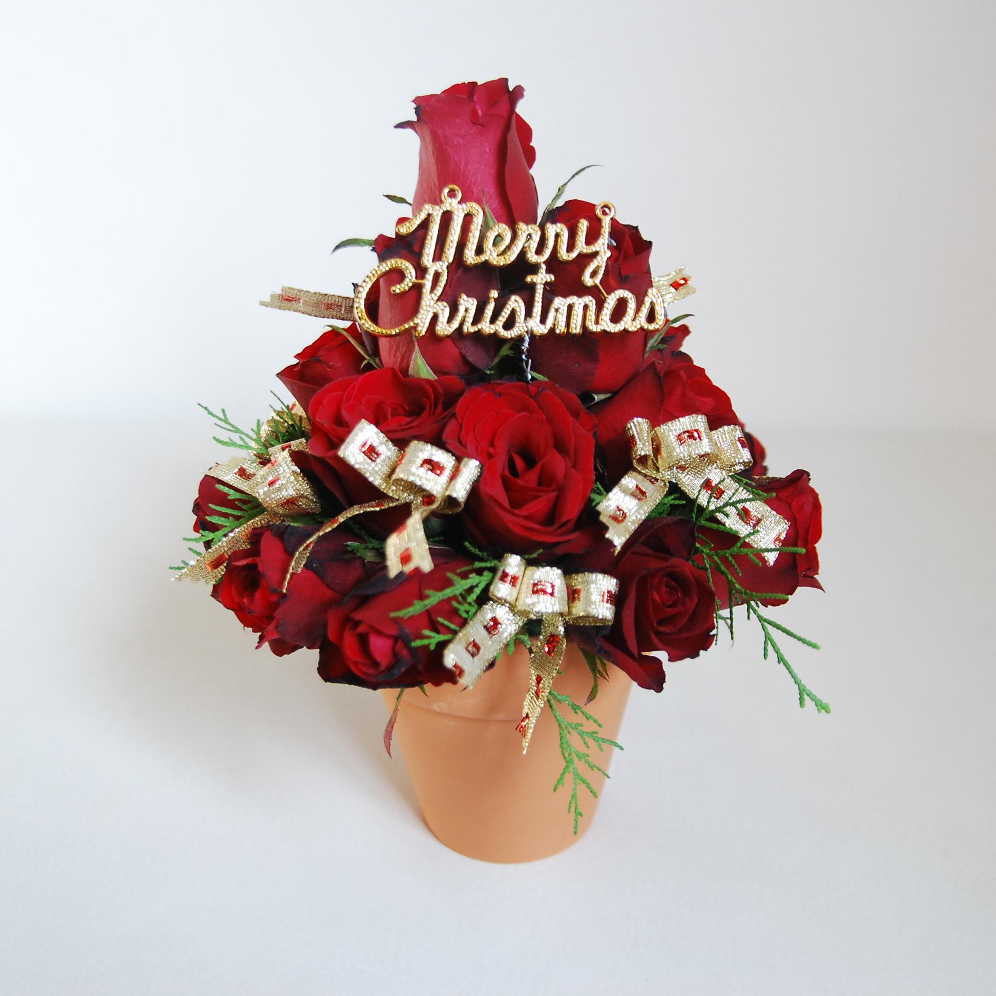 【巧繪網-TR030019玫瑰聖誕樹-小】最特別的耶誕驚喜聖誕花束聖誕禮物浪漫推薦