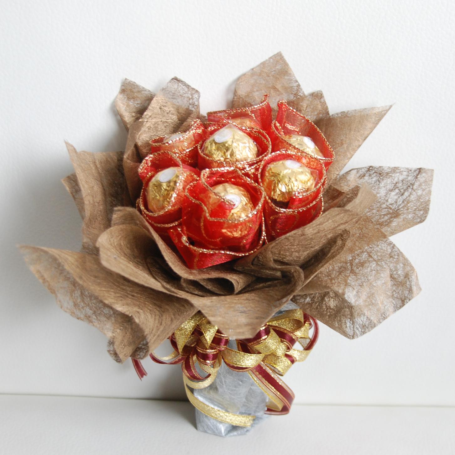 【巧繪網-G020038華麗約會】精緻金莎七顆包裝mini金莎花束送禮輕巧可愛傳情花束