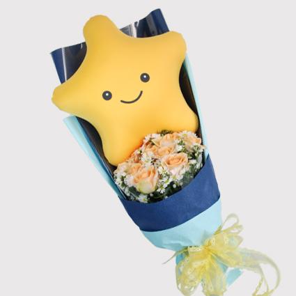 【巧繪網—創意‧獨賣花束】CF550014‧You're My Star‧11朵香檳玫瑰+1顆微笑星星
