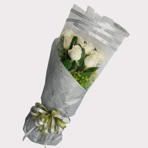 【巧繪網—傳情生日禮物】FR520140網路花店‧銀色星鑽= 嚴選新鮮白玫瑰花束/耀眼銀