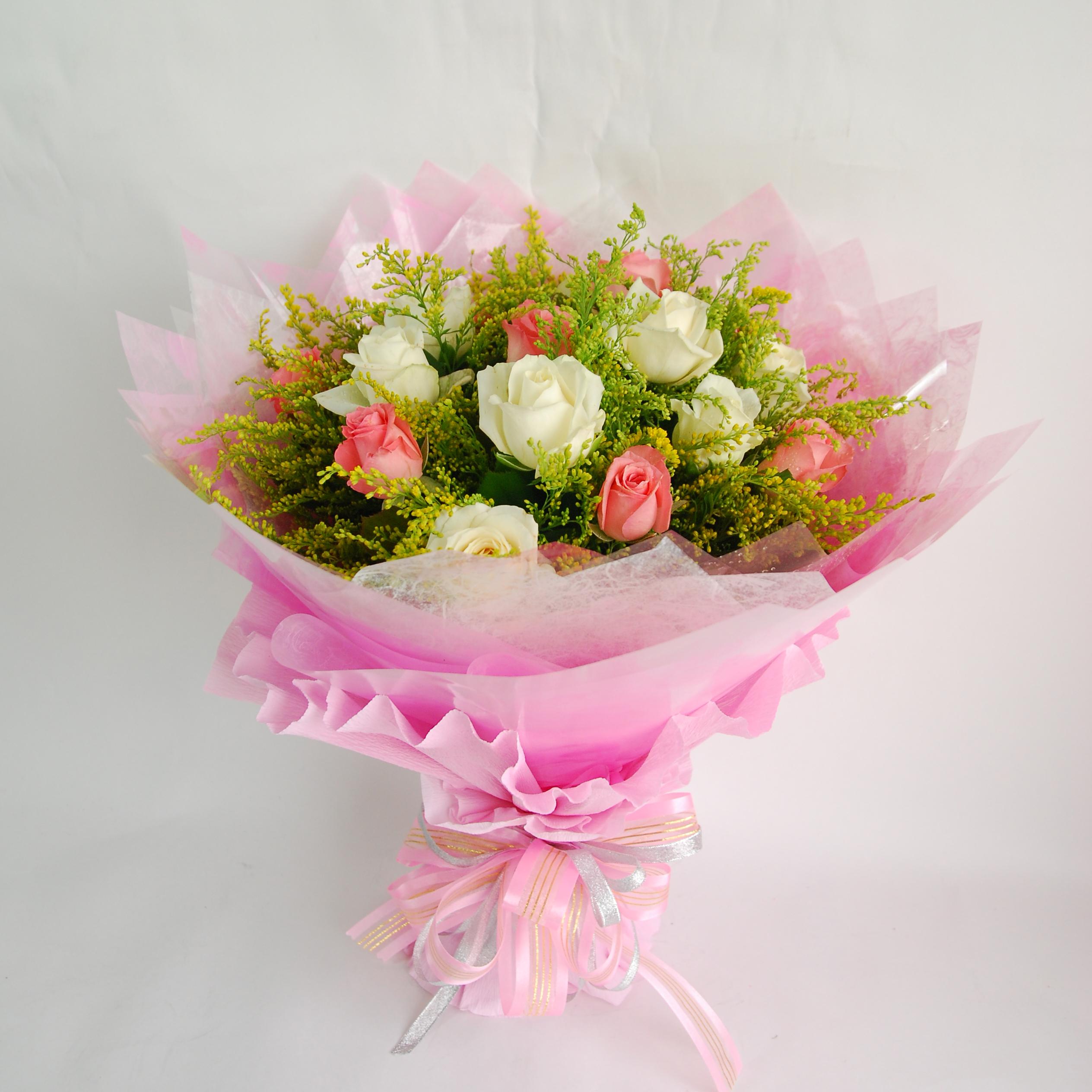 【巧繪網—告白追求大推薦】FR040144粉紅波浪= 嚴選新鮮雙色玫瑰花束/禮物