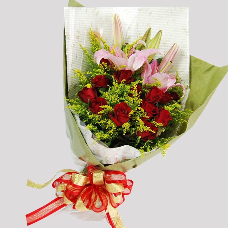 【巧繪網—浪漫花束花禮】FRL040135 網路花店‧綠森林‧玫瑰花束∕生日禮物