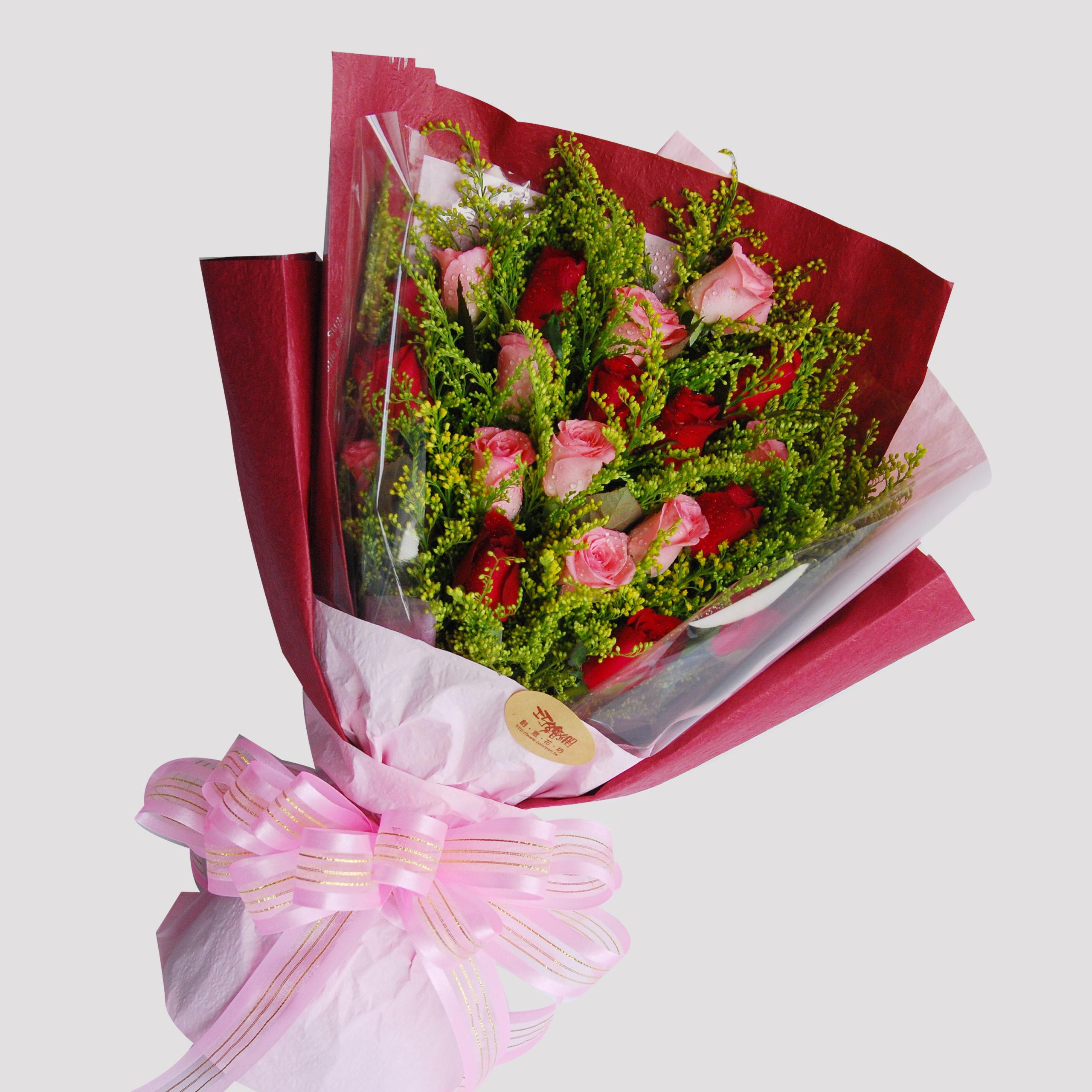 【巧繪網—七夕情人浪漫禮】FR040126 ‧雙色豪情=雙色玫瑰花束數十朵‧深情熱賣中