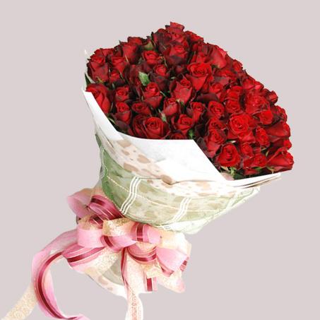 【巧繪網—幸福浪漫花束】FR001045網路花店‧天長地久=99朵火紅玫瑰+新鮮葉材