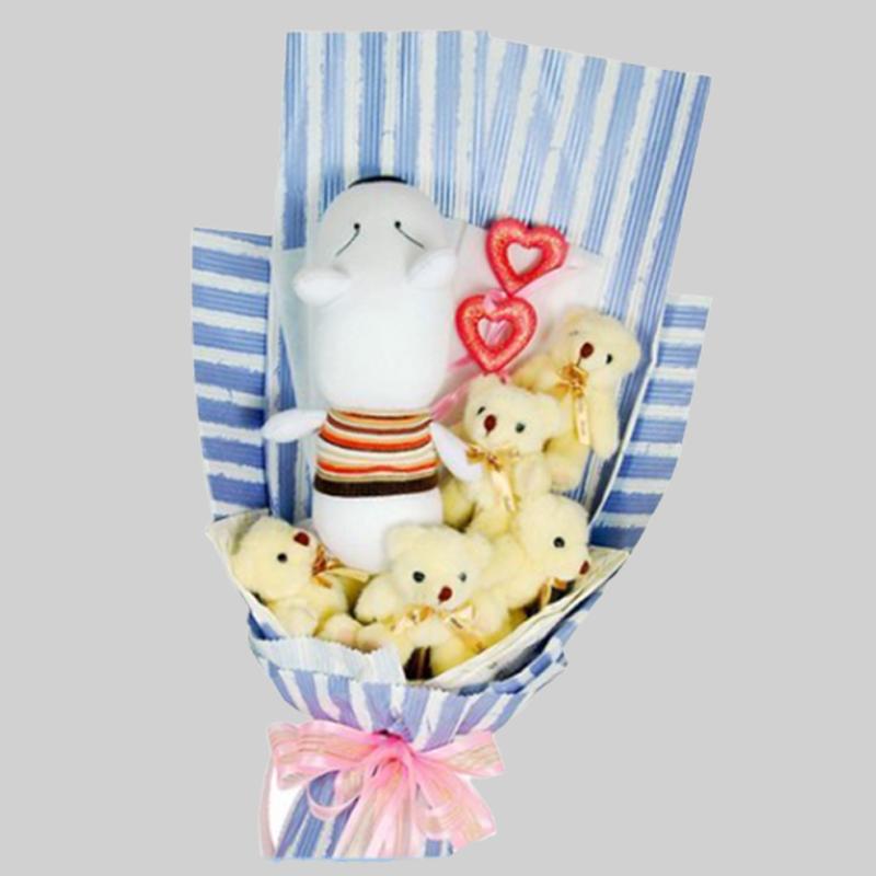 【巧繪網—情人節浪漫花禮】BD040013光陰的故事=5隻6吋熊+1隻襪子狗