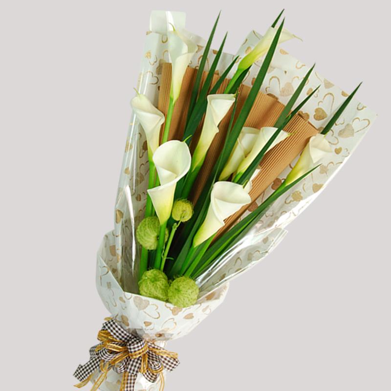 【巧繪網—傳情花束】FH030050網路花店‧原色簡約=10支海芋+新鮮葉材