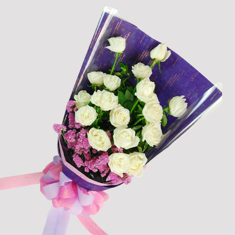 【巧繪網—浪漫花束】FR030053 網路花店‧白色溫柔=20朵白玫瑰+當季新鮮花材