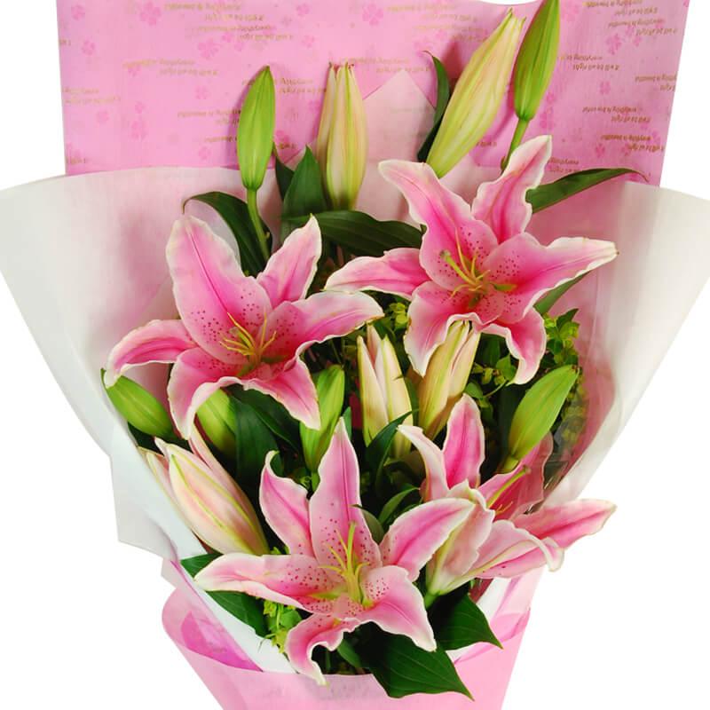 【巧繪網—幸福浪漫花禮】FL040055 網路花店‧燦爛笑容=5支百合+當季新鮮葉材
