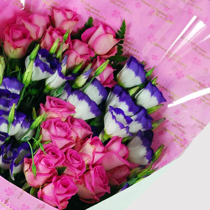 【巧繪網—浪漫傳情花束】FR040060網路花店‧傳情=20朵紫玫+當季新鮮花葉材