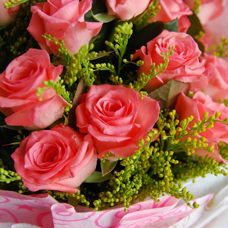 【巧繪網-FR030121幸福台階】嚴選新鮮粉玫瑰花束 情人節花束 網路花店 傳情花束