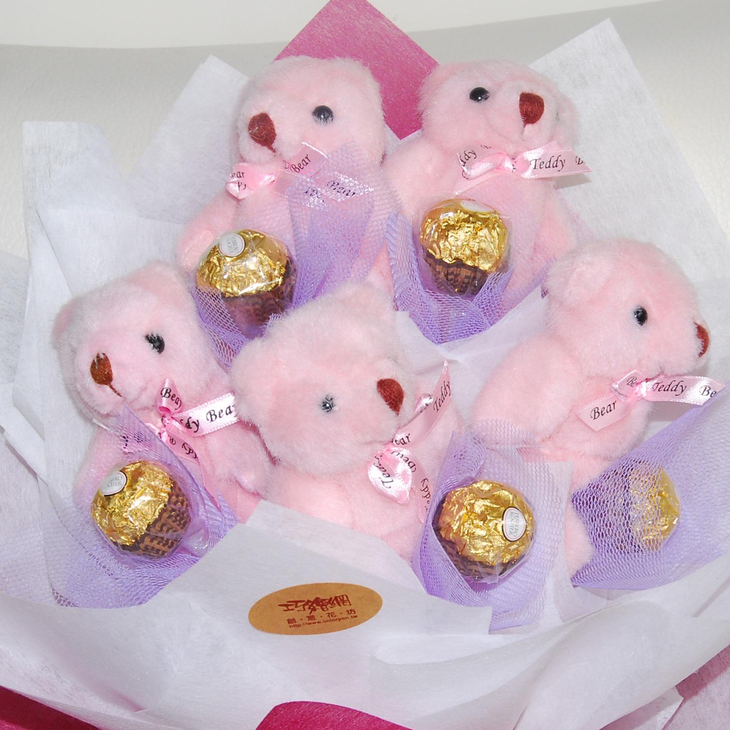 【巧繪網-GB030036熊之舞】Q小熊5隻+金莎5顆/小熊金莎花束/生日禮物/小熊花束