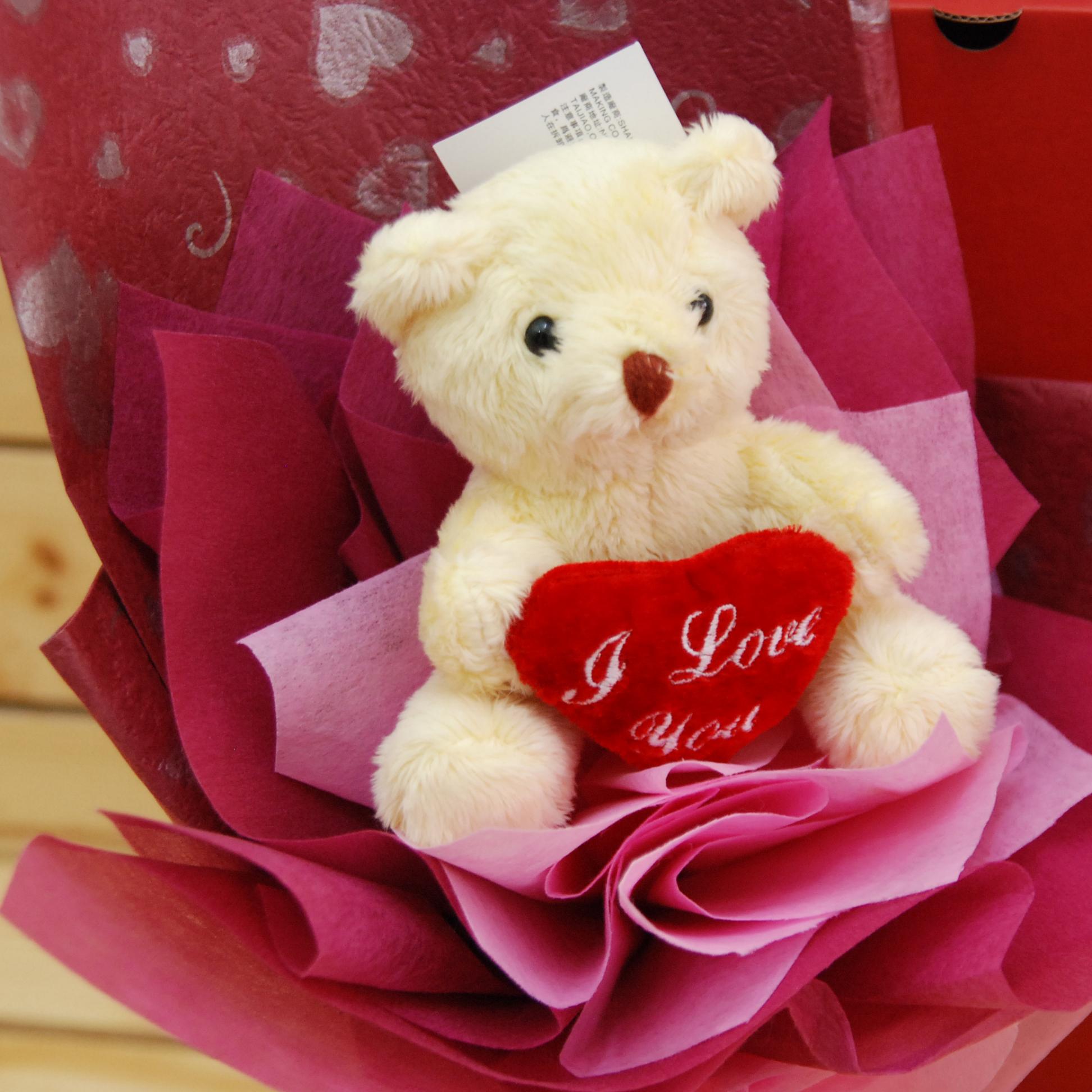 【巧繪網B520413 】情人可愛禮 超Q愛心小熊花束 七夕 情人節 禮物