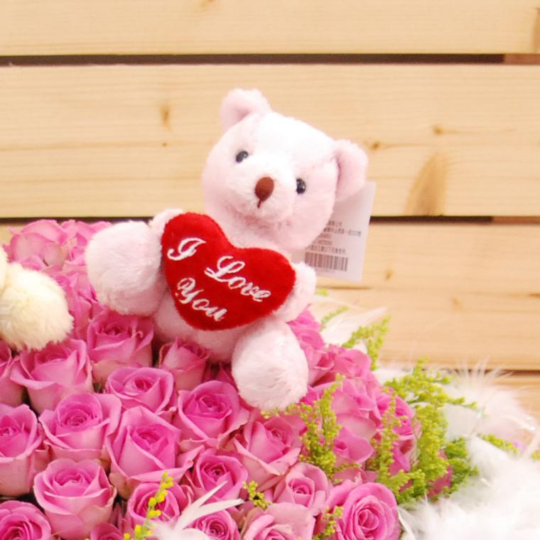 【巧繪網FR081411A 】99朵 夢幻羽毛 紫玫瑰花束 小熊花束 七夕禮物