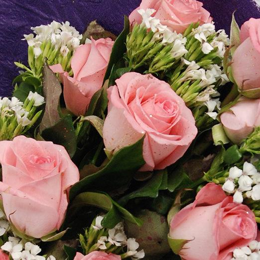 【巧繪網—幸福浪漫花束】FR020039粉色幸福=10朵黛安娜玫瑰+當季新鮮花材
