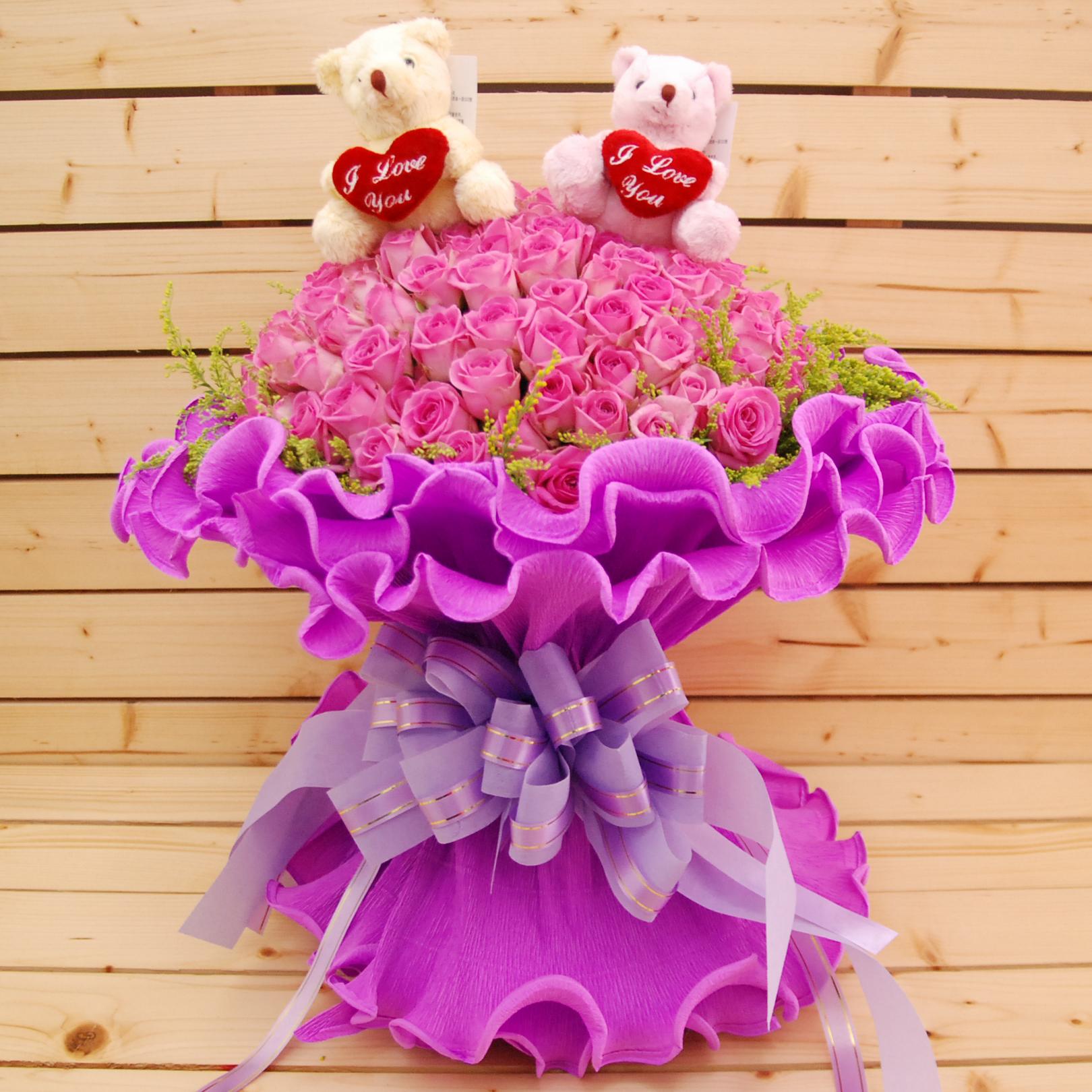 【巧繪網FR081411C 】情人最愛 99朵 紫玫瑰 小熊花束 情人節花束 七夕禮物