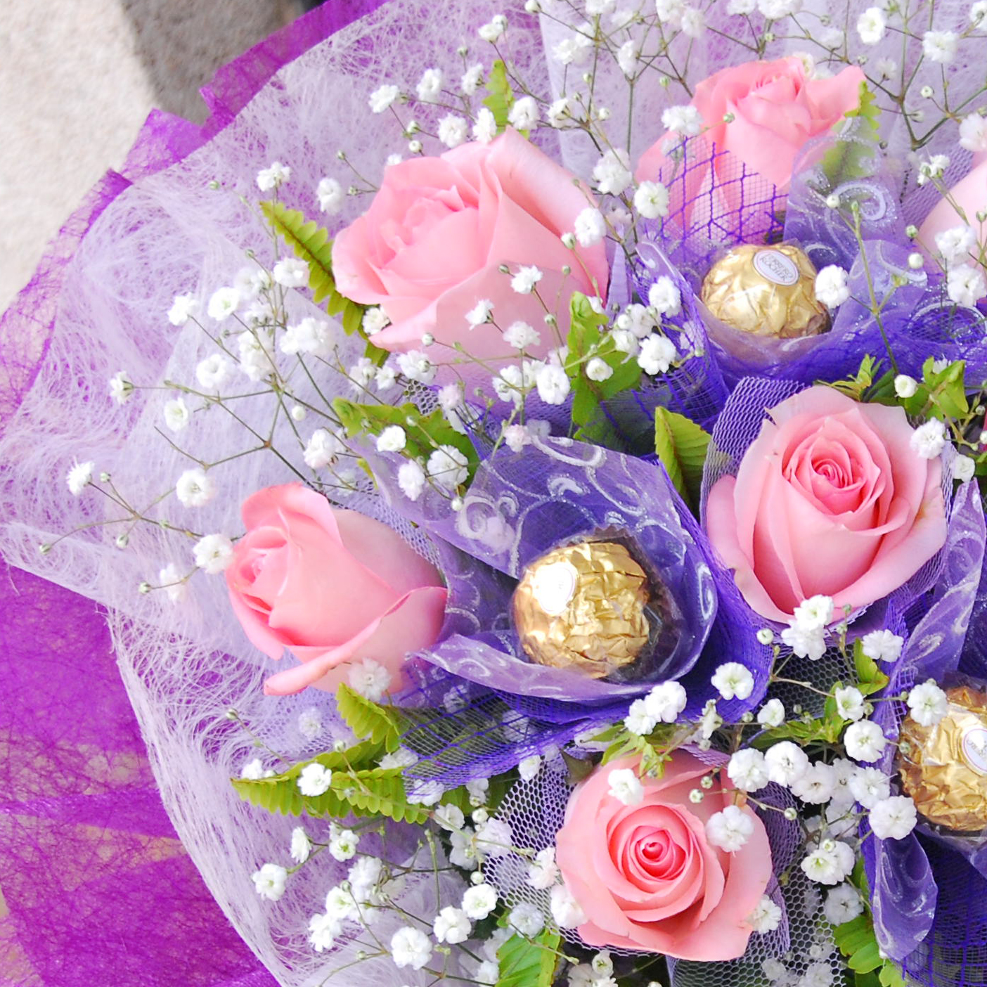 【巧繪網CHO40016情海】粉玫瑰巧克力金莎花束‧情人節禮物玫瑰花束網路花店~全省配送