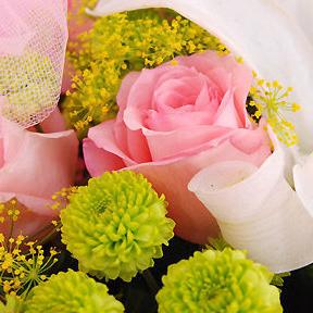【巧繪網CHO65016專屬天使】=粉玫瑰百合花束新鮮配花‧浪漫主打~全省配送