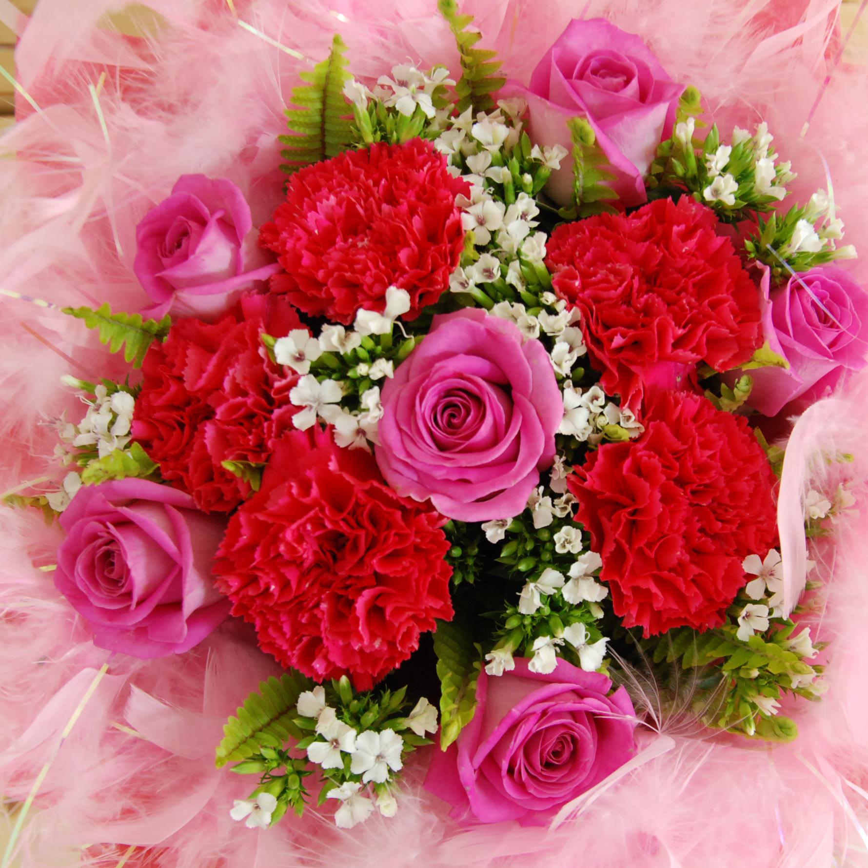 【巧繪網-FH060332可愛媽媽】=康乃馨花束/紫玫瑰花束/母親節花束/線上花店/母親節禮物