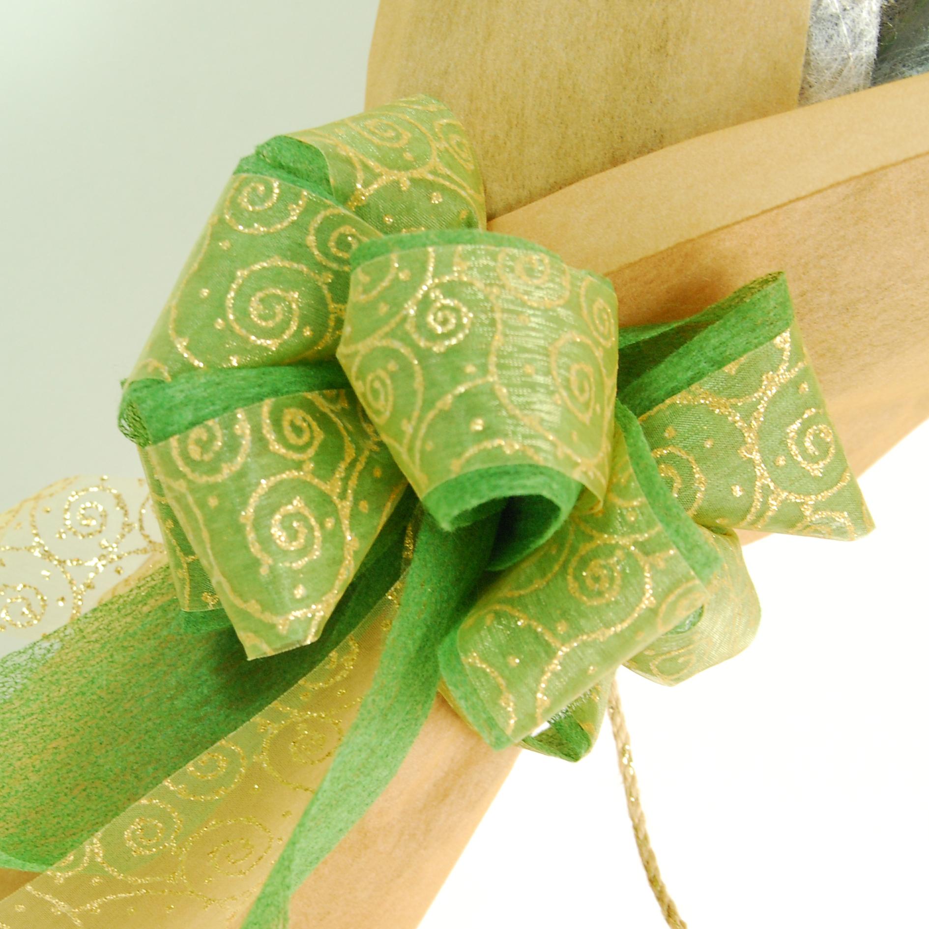 【巧繪網—傳情花束花禮】FJ030054網路花店‧無盡的愛=新鮮桔梗搭配金綠色系包裝